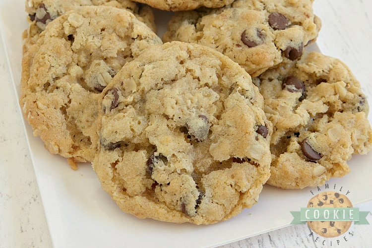 Chocolate chip cookies with oats and rice krispies