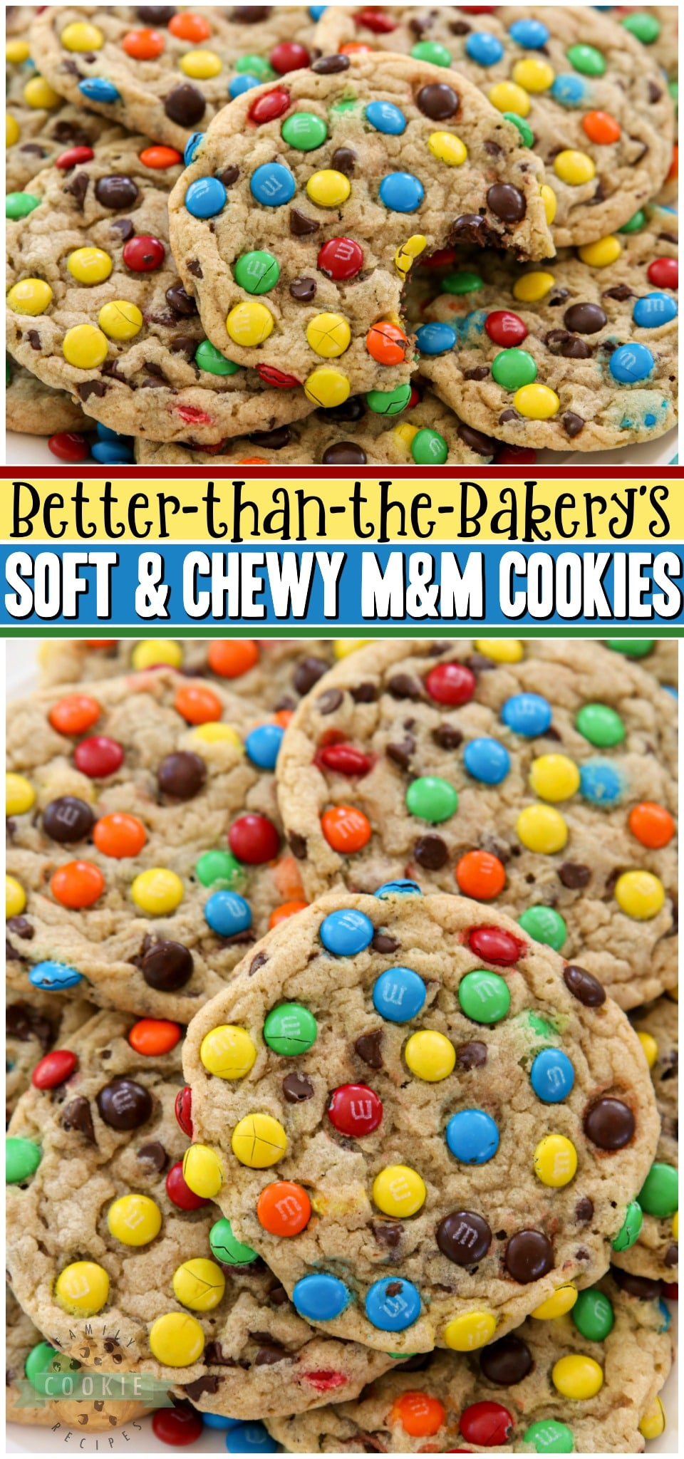 Soft & Chewy M&M Cookies made with butter, sugars, pudding mix & M&M's candy! Easy tip for coating your cookies PERFECTLY with M&M's! BEST #M&M Cookie recipe ever!#cookies #recipe #baking #dessert #softcookies #M&Mcookies from FAMILY COOKIE RECIPES via @buttergirls