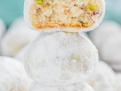 Cranberry Pistachio Snowball Cookies recipe