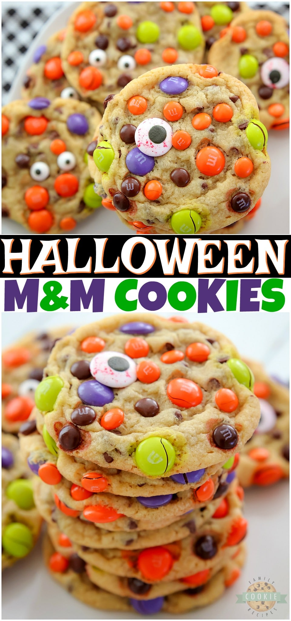 Perfect M&M HALLOWEEN Cookies made with butter, sugars, pudding mix & festive M&M's candies! Fun & festive Halloween Cookie recipe with candythat everyone loves! #cookies #M&M #Halloween #cookierecipe #HalloweenCookies #easyrecipe from FAMILY COOKIE RECIPES via @familycookierecipes