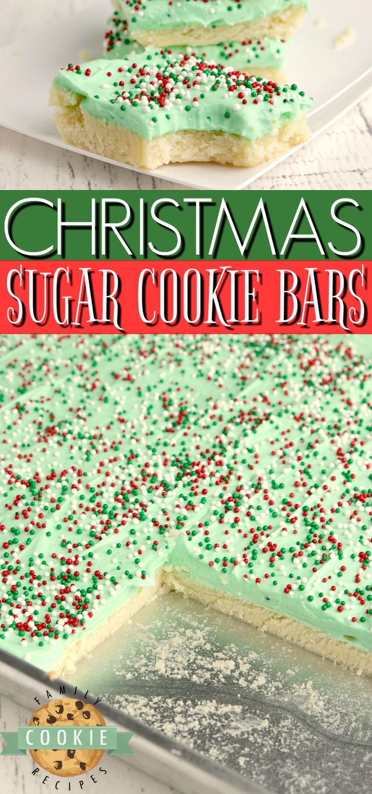 Christmas Sugar Cookie Bars are thick, soft and absolutely amazing! Best sugar cookie bar recipe that I've ever tried! via @familycookierecipes