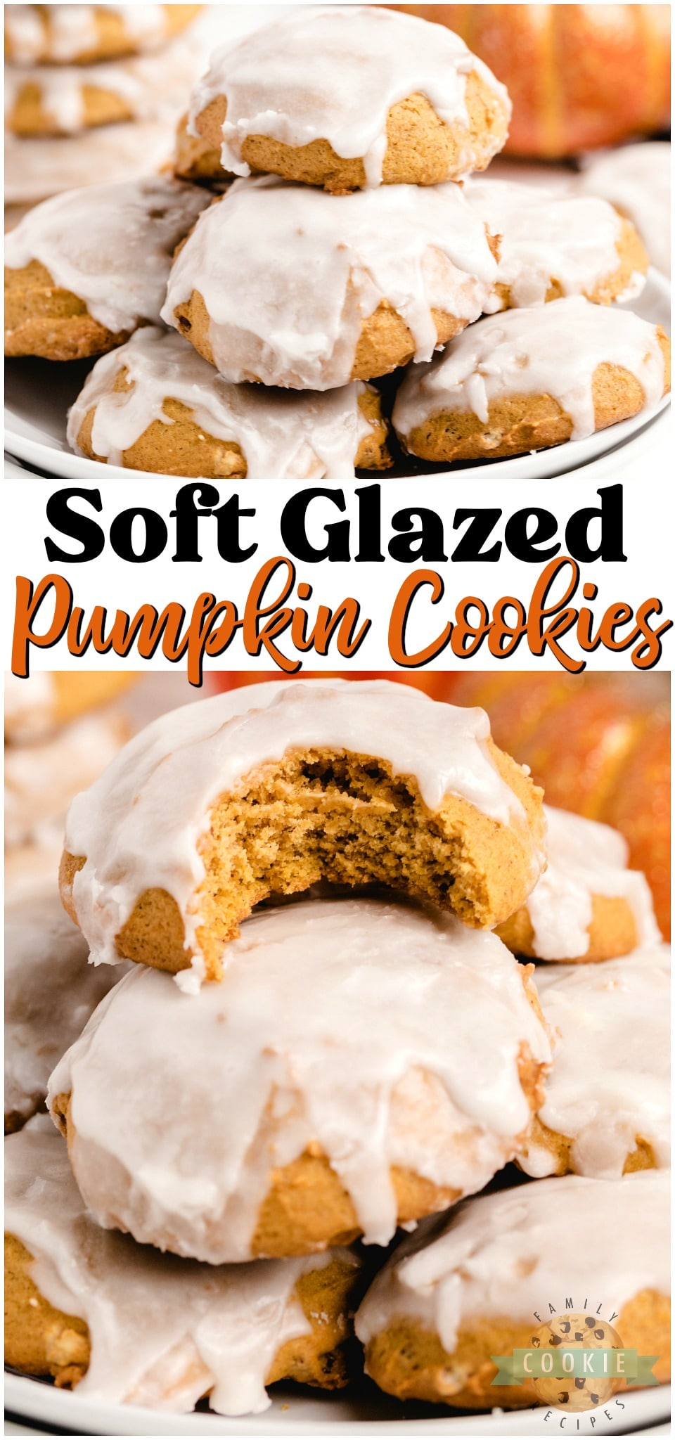 Iced Pumpkin Cookies are spiced with cinnamon, nutmeg & vanilla for a soft & sweet pumpkin dessert. These easy pillowy pumpkin cookies iced with smooth vanilla icing are perfect for pumpkin lovers! #pumpkin #cookies #baking #icing #dessert #easyrecipe from FAMILY COOKIE RECIPES via @familycookierecipes