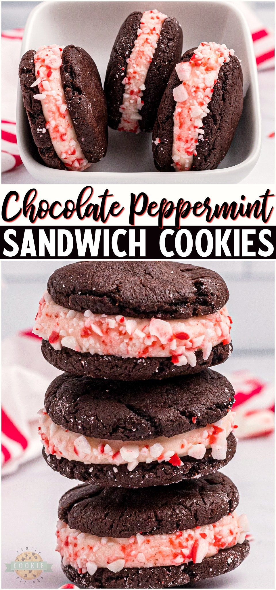 Peppermint Chocolate Sandwich Cookies are a lovely holiday treat made with soft chocolate cookies and a peppermint cheesecake filling. Perfect holiday cookies for gift giving and dessert trays! #peppermint #chocolate #cookies #baking #dessert #holidays #easyrecipe from FAMILY COOKIE RECIPES via @familycookierecipes