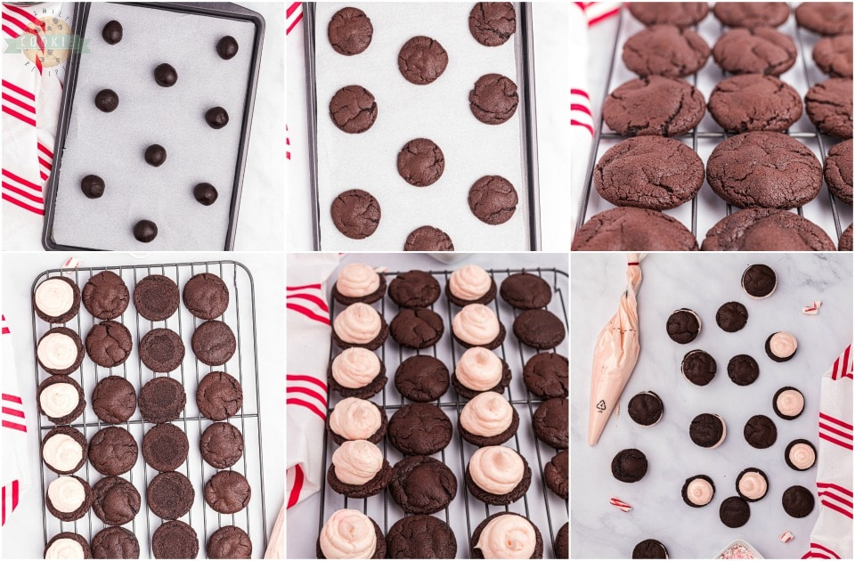 how to make Holiday Peppermint Chocolate Sandwich Cookies