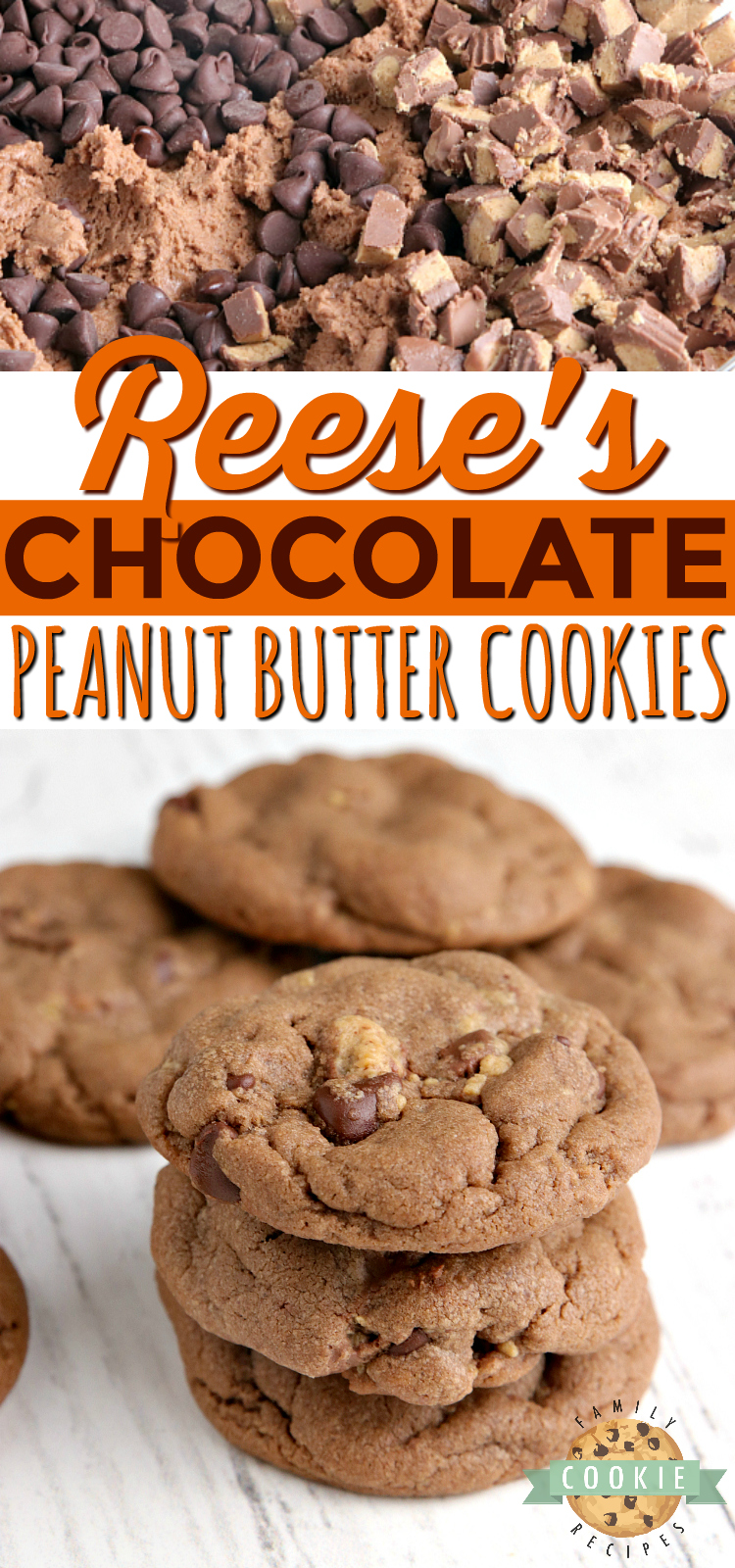 Reese's Chocolate Peanut Butter Cookies are full of chocolate, peanut butter and Reese's Peanut Butter Cups. Peanut butter cookie recipe that is soft, chewy and absolutely perfect! via @buttergirls