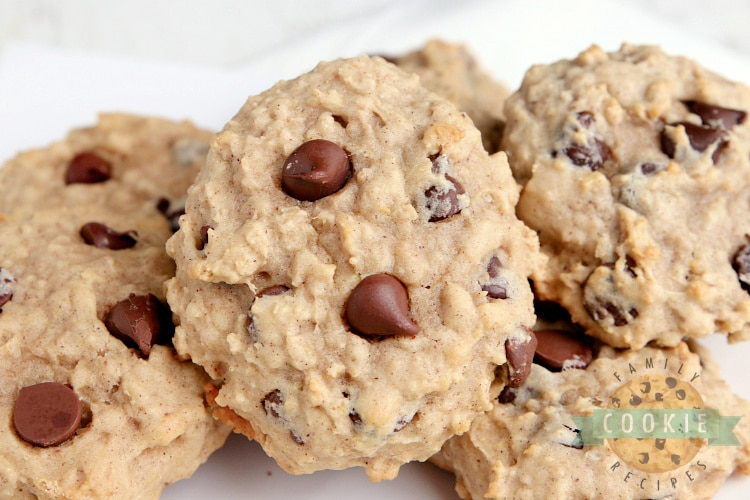 Applesauce cookies with oats and chocolate chips