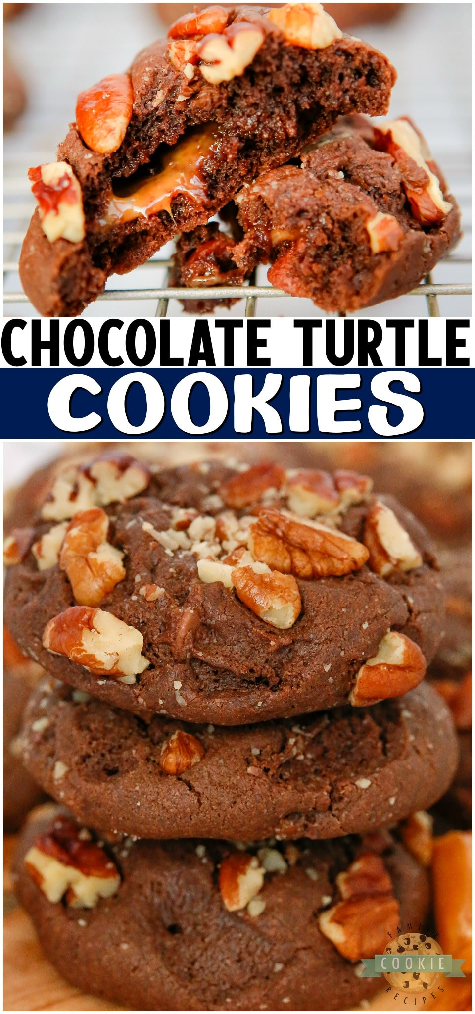 Chocolate Turtle Cookies are double chocolate chip cookies stuffed with caramel & pecans! Decadent Turtle Cookie recipe that everyone loves! #cookies #chocolate #caramel #pecan #turtles #baking #dessert #easyrecipe from FAMILY COOKIE RECIPES via @familycookierecipes