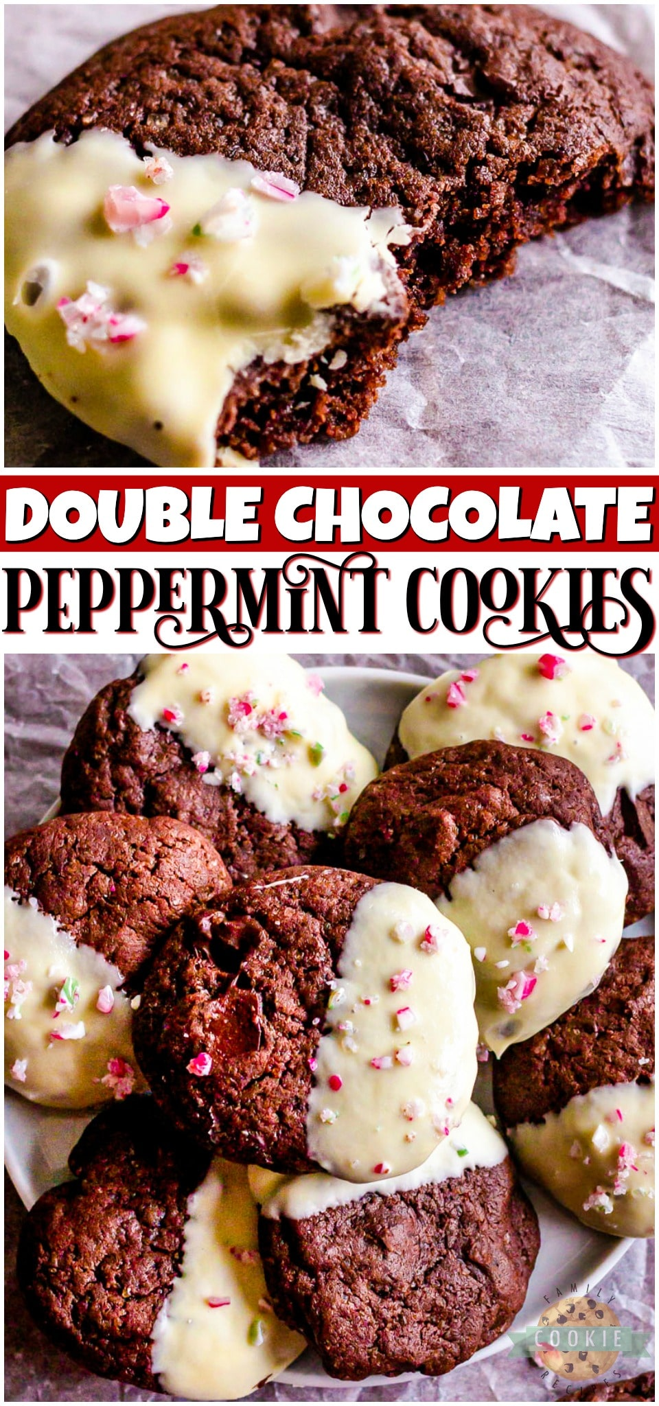 Chocolate Peppermint Cookies are a delicious double chocolate minty cookie that's dipped in white chocolate! Festive holiday cookie perfect for goodie trays!