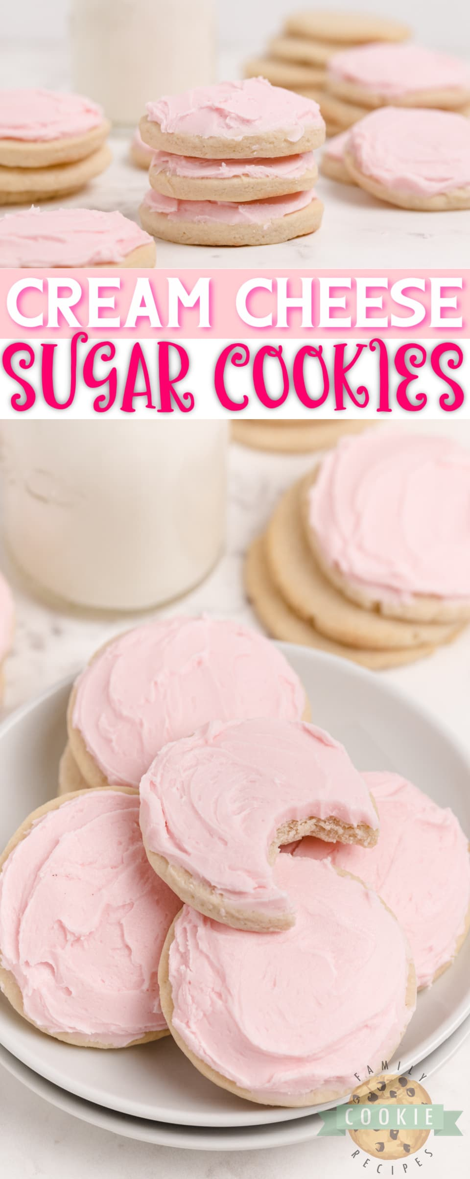 Cream Cheese Sugar Cookies are soft, thick and easily the best sugar cookie recipe I've ever tried. These sugar cookies hold their shape when baked and they are moist and perfectly sweet too! via @familycookierecipes