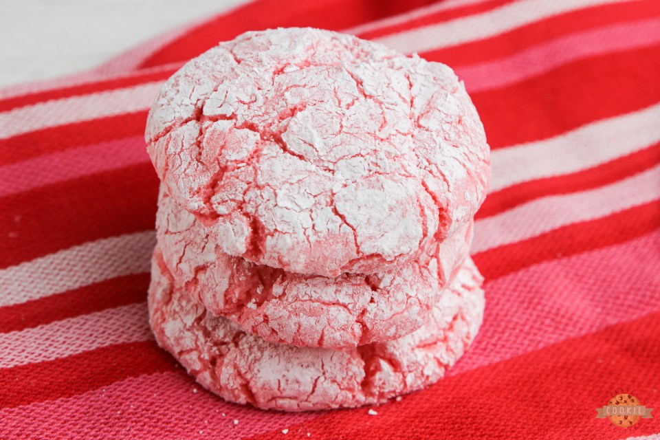 Strawberry cake mix cookies made with Cool Whip