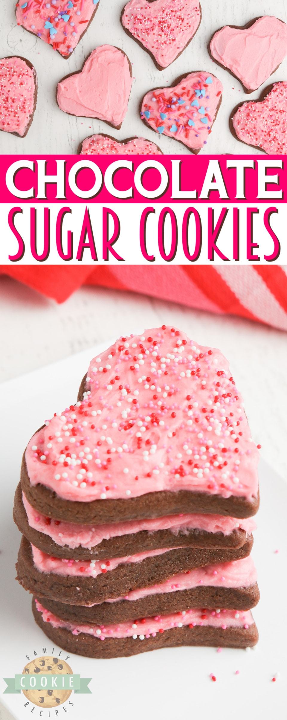 Chocolate Sugar Cookies are soft, rich and perfect for cutting out shapes and making holiday cookies. Easy chocolate sugar cookie recipe that is absolutely delicious! via @familycookierecipes