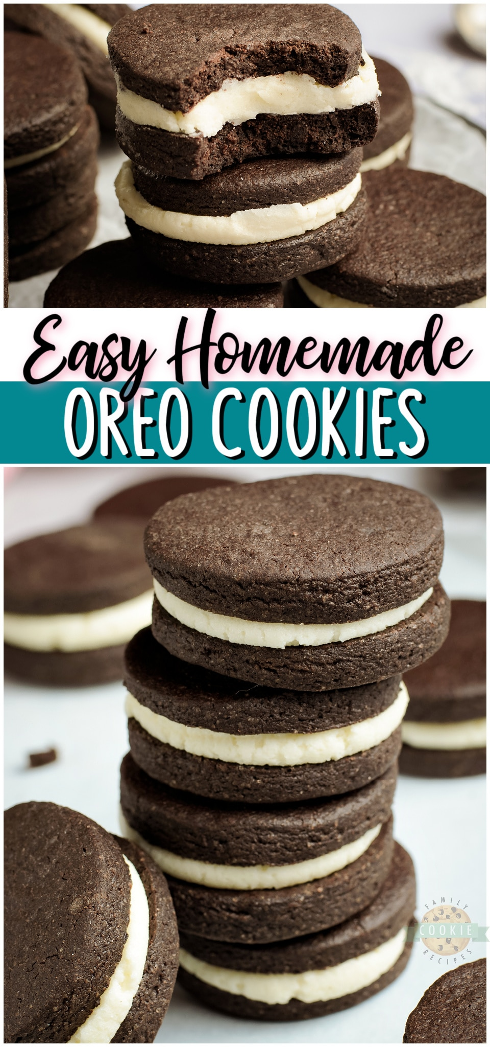 Homemade Oreo Cookies recipe for anyone who loves OREOS! Our Homemade Oreos taste even better with the chocolaty cookies on the outside & buttery vanilla cream on the inside.