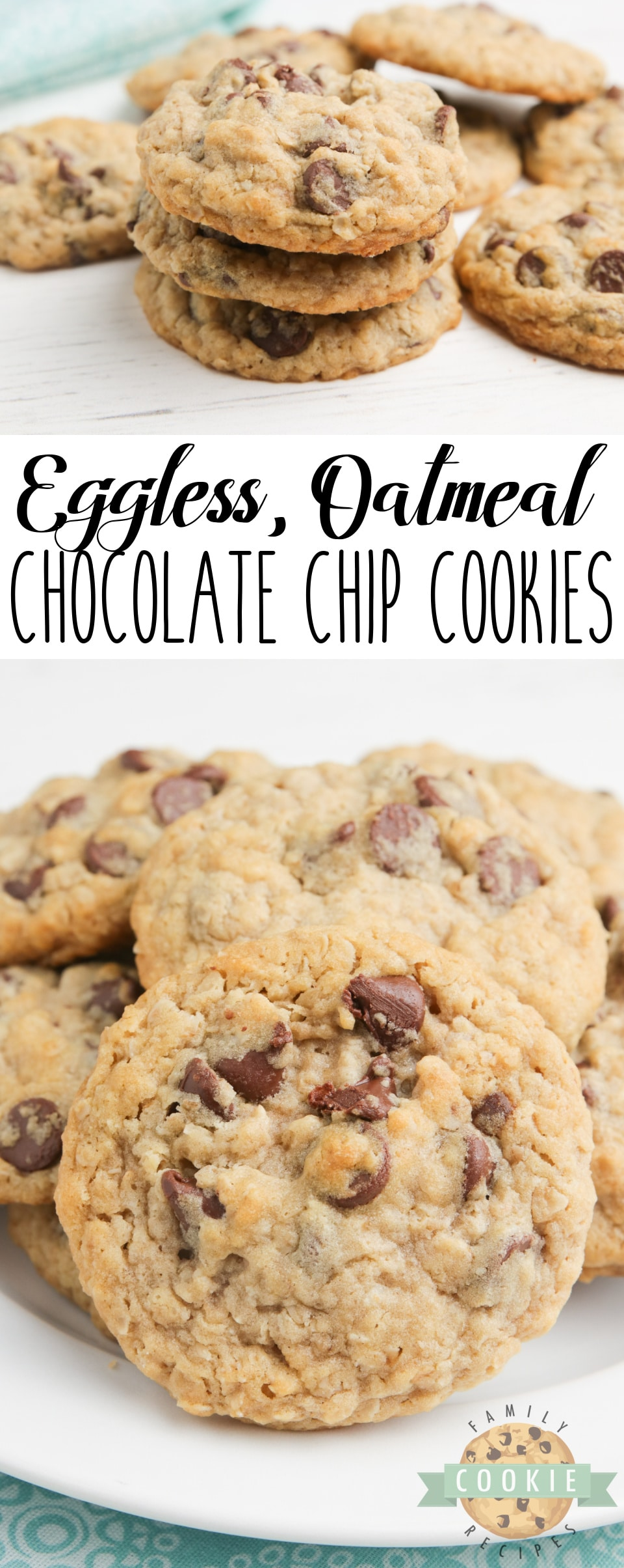 Eggless Oatmeal Chocolate Chip Cookies are soft, chewy and have the perfect consistency - you can't even tell there aren't any eggs in the recipe! Best eggless cookie recipe ever! via @familycookierecipes