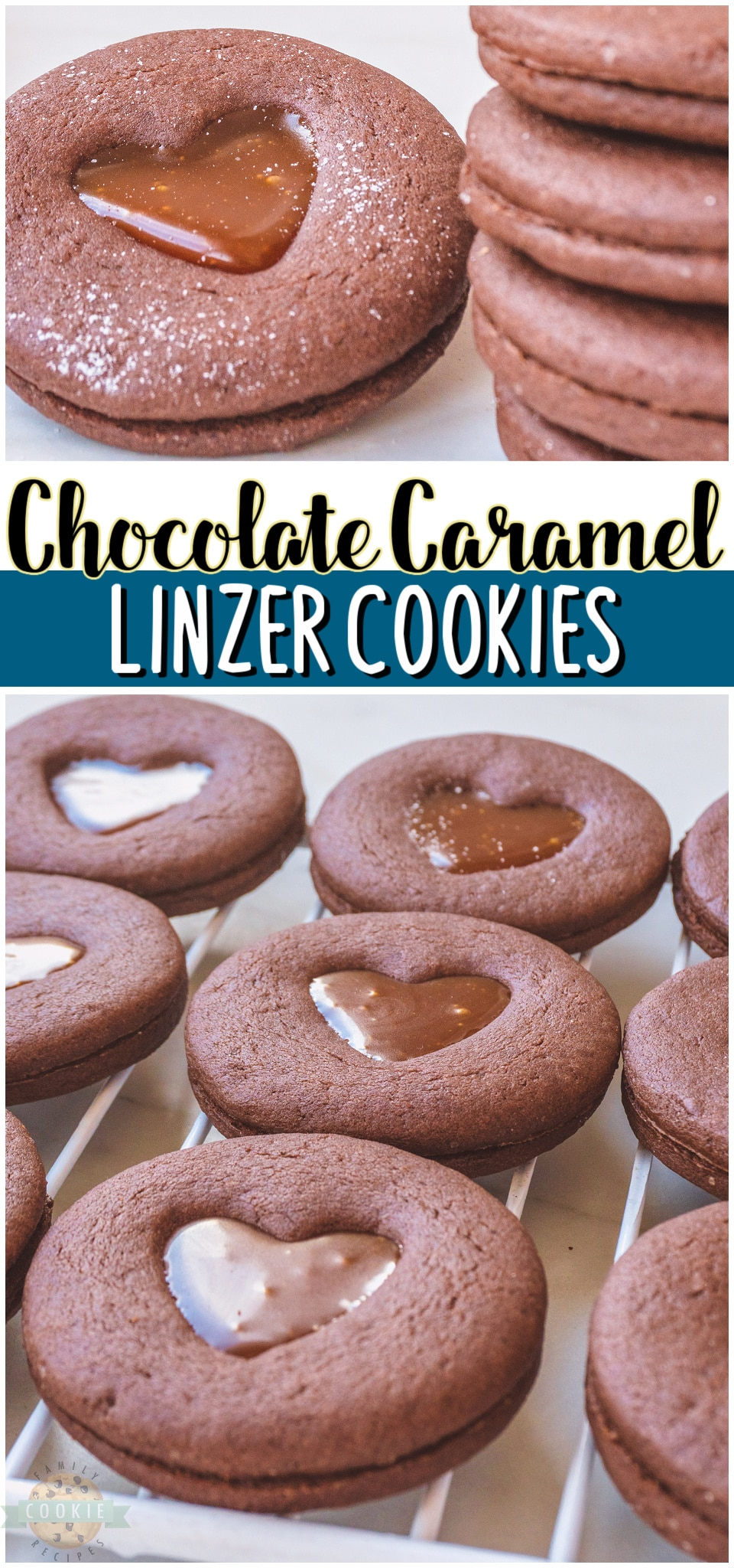 Chocolate Caramel Linzer Cookies are sandwich cookies that pack a lot of flavor into every gooey bite. With caramel filled chocolate cookies, every bite is going to be delicious but making these cookies is half of the fun! #cookies #Linzer #chocolate #caramel #baking #dessert #easyrecipe from FAMILY COOKIE RECIPES via @familycookierecipes
