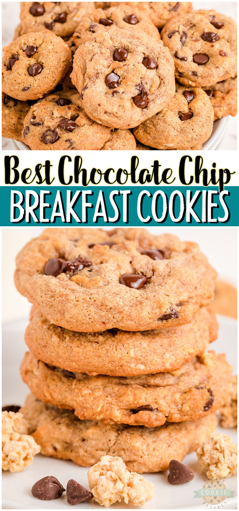 Breakfast chocolate chip cookies are a perfect snack that you can feel good about. Whole wheat flour, applesauce, granola, & dark chocolate combine to make tasty low-calorie & low sugar cookies!