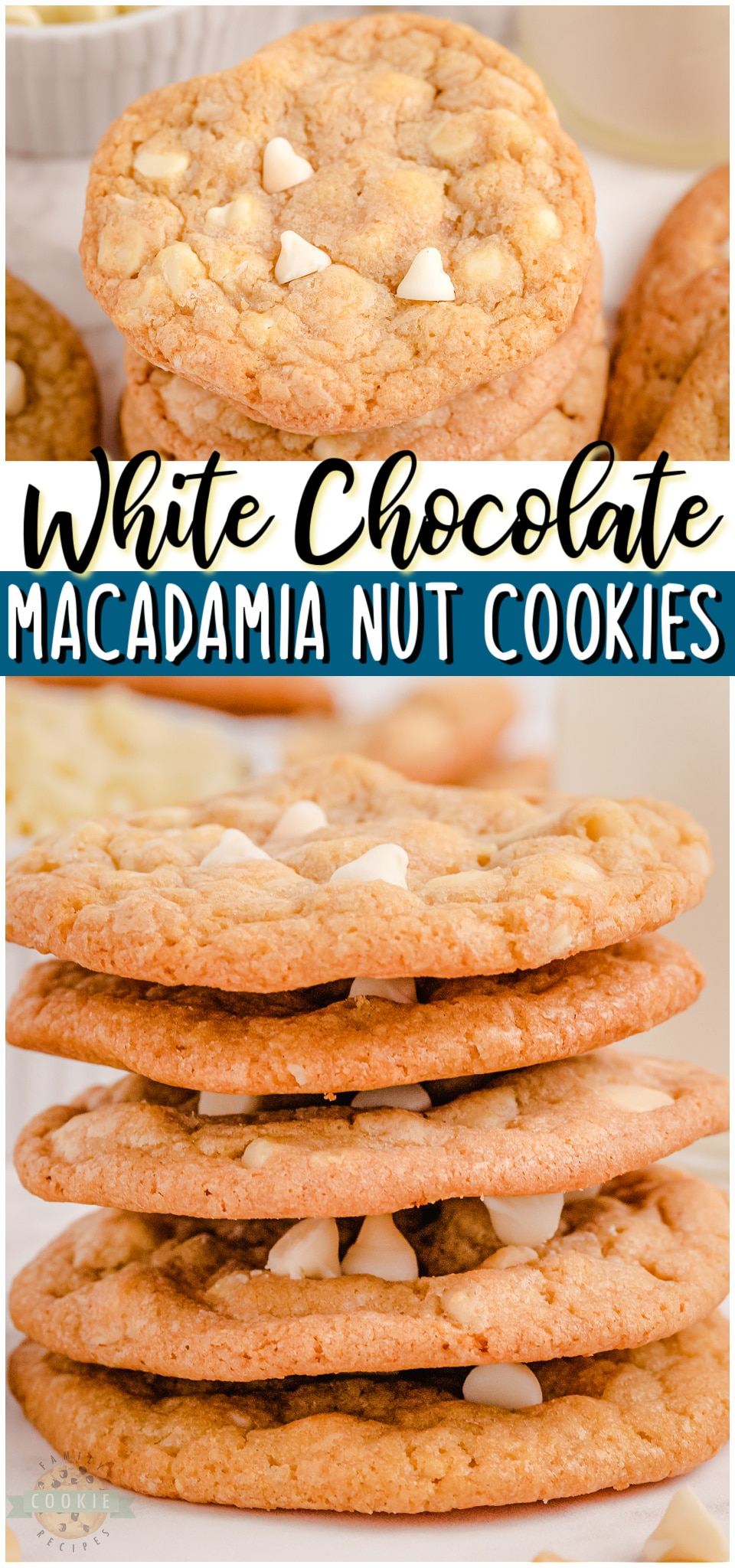 White chocolate chip cookies with macadamia nuts are a tasty treat that everyone can enjoy. With the soft and chewy cookies, buttery nuts and melt in your mouth chocolate chips, each bite is amazing! #cookies #baking #whitechocolate #macadamianut #dessert #easyrecipe from FAMILY COOKIE RECIPES via @familycookierecipes