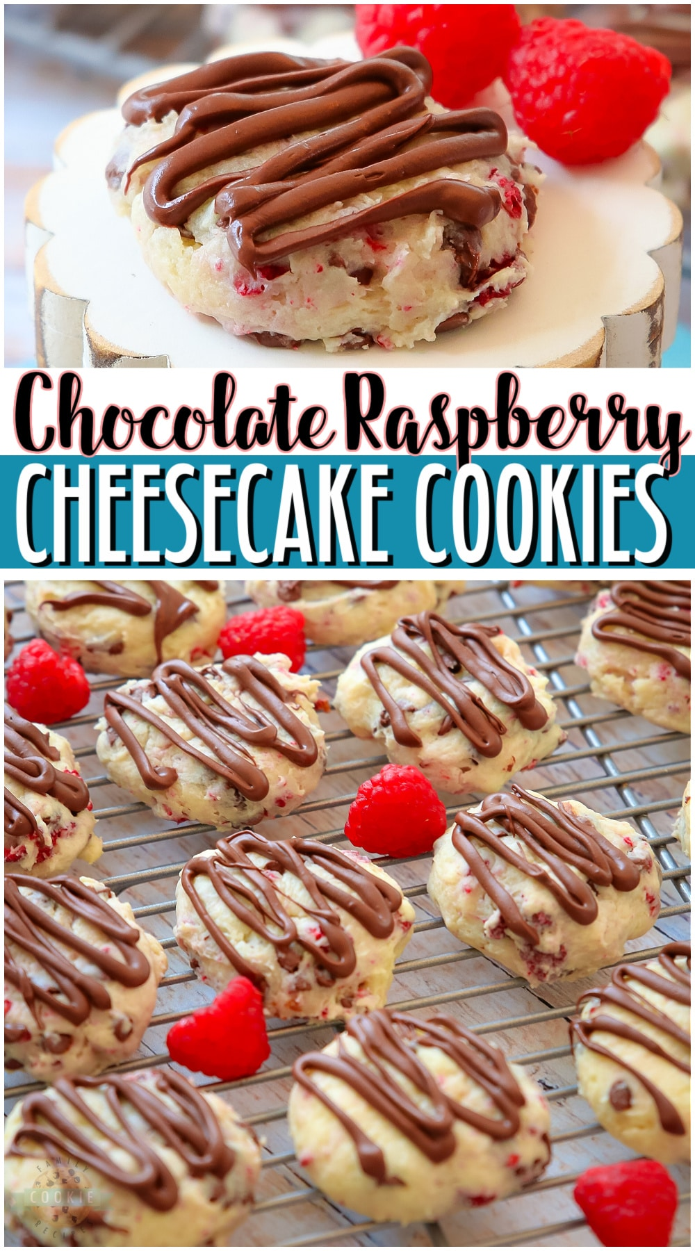 Chocolate Raspberry Cheesecake Cookies are indulgent cookies made with cream cheese, chocolate chips & raspberries! Soft cookies with bright raspberry cheesecake flavor that everyone loves! via @familycookierecipes