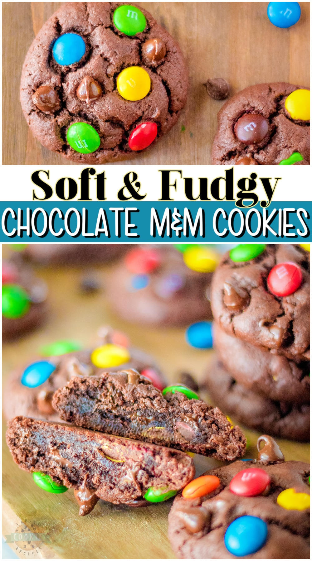 Chocolate M&M cookies that are soft, chewy and loaded with chocolate! Simple M and M pudding cookie recipe made with classic ingredients that everyone adores. via @familycookierecipes