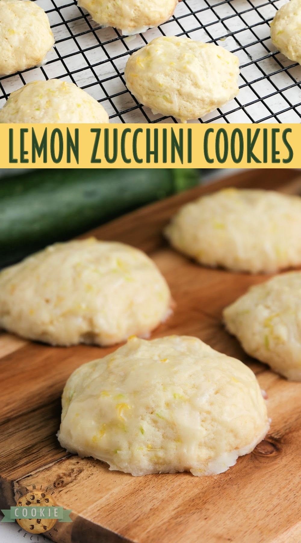 Lemon Zucchini Cookies made with lots of lemon flavor and shredded zucchini. Topped with a delicious lemon glaze, these zucchini cookies are absolutely incredible! via @familycookierecipes