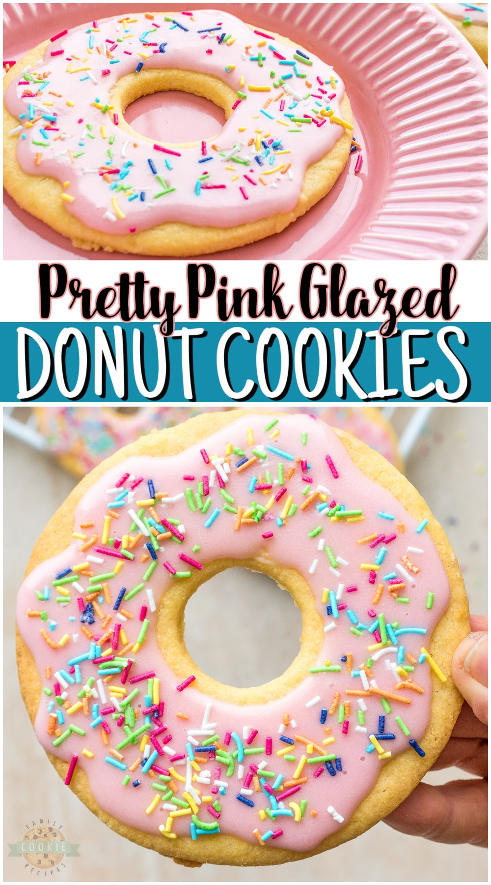 Pink donut cookies are cute sugar cookies frosted with pink glaze to look just like Sprinkled Pink Donuts! Cute donut cookies perfect for birthday parties, bridal showers, baby showers or any type of party! via @familycookierecipes