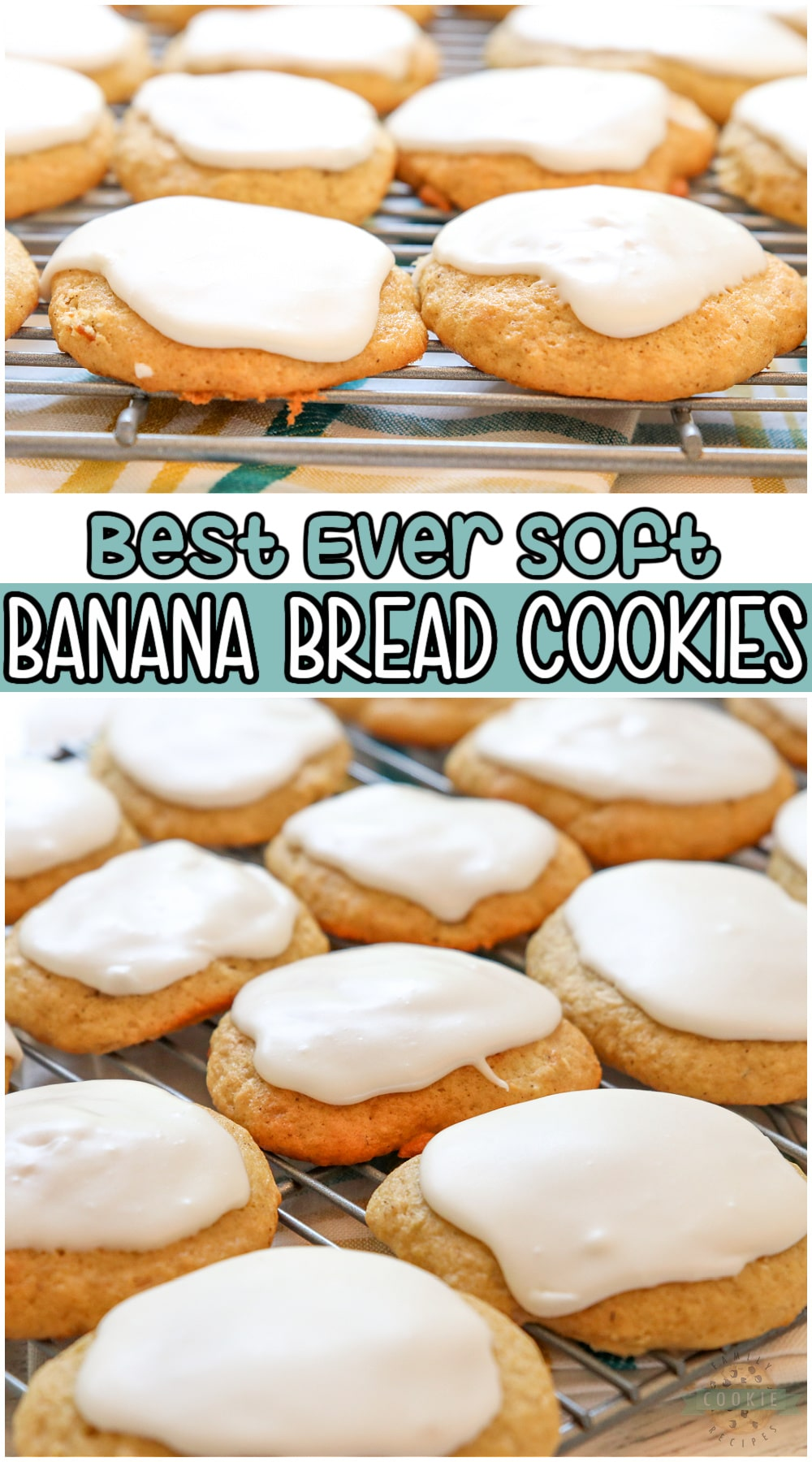 Banana Bread Cookies are soft, sweet cookies made with ripe bananas and topped with a simple vanilla glaze. They're everything you love about Banana Bread, but in cookie form! #cookies #banana #bananabread #baking #easyrecipe from FAMILY COOKIE RECIPES via @familycookierecipes