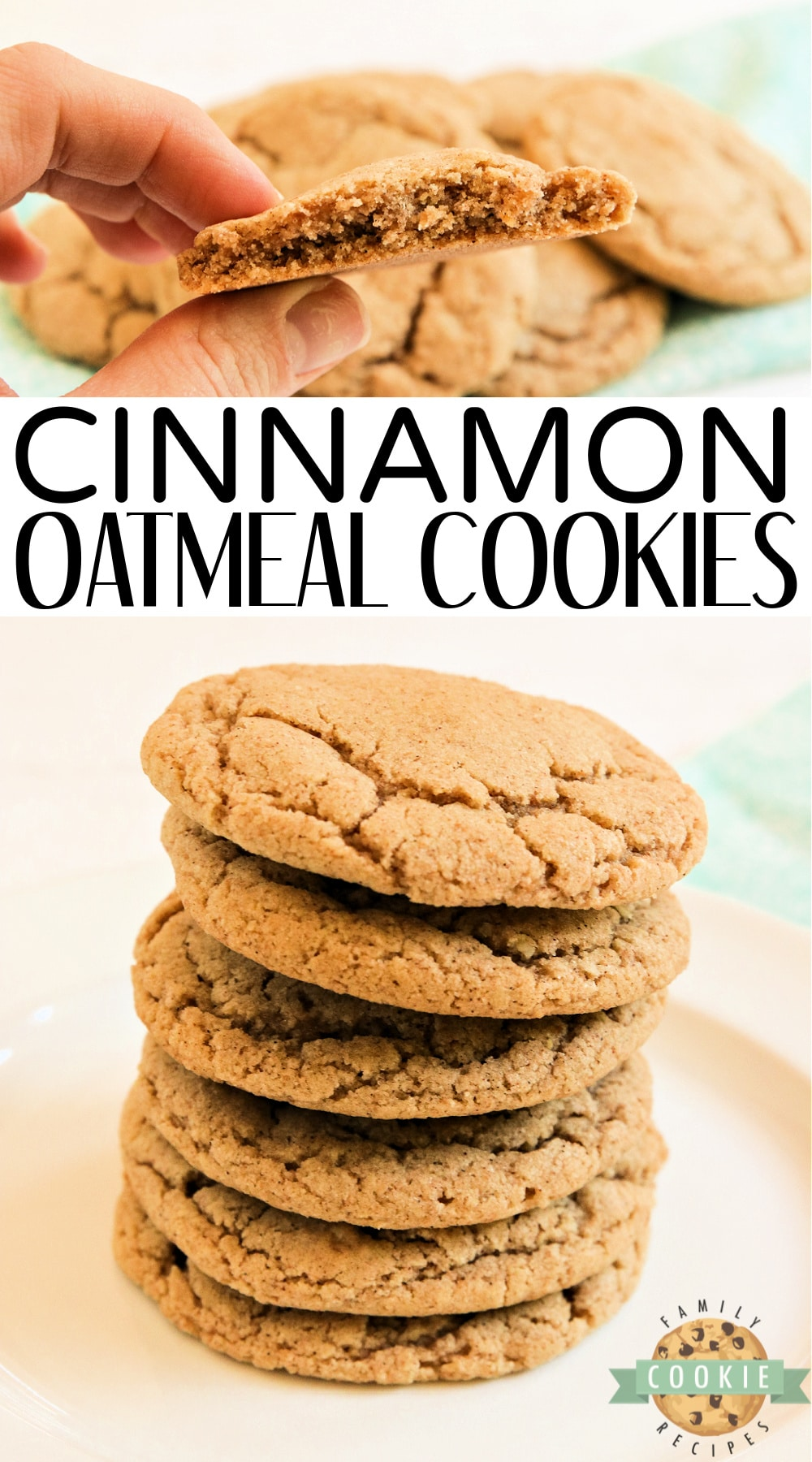 Cinnamon Oatmeal Cookies are soft, chewy and packed with oat flour and ground cinnamon. My new favorite oatmeal cookie recipe! via @familycookierecipes