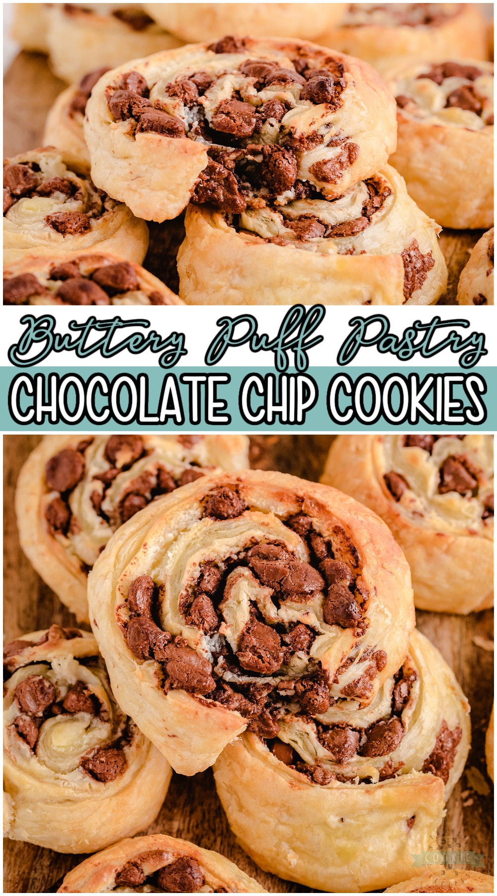 """Chocolate Chip Puff Pastry Cookies are unique cookies made with just 4 simple ingredients! Buttery Puff Pastry serves as the """"cookie dough"""" for these deliciously flaky cream cheese chocolate chip cookies.#cookies #puffpastry #chocolate #chocolatechip #baking #easyrecipe from FAMILY COOKIE RECIPES via @familycookierecipes"""
