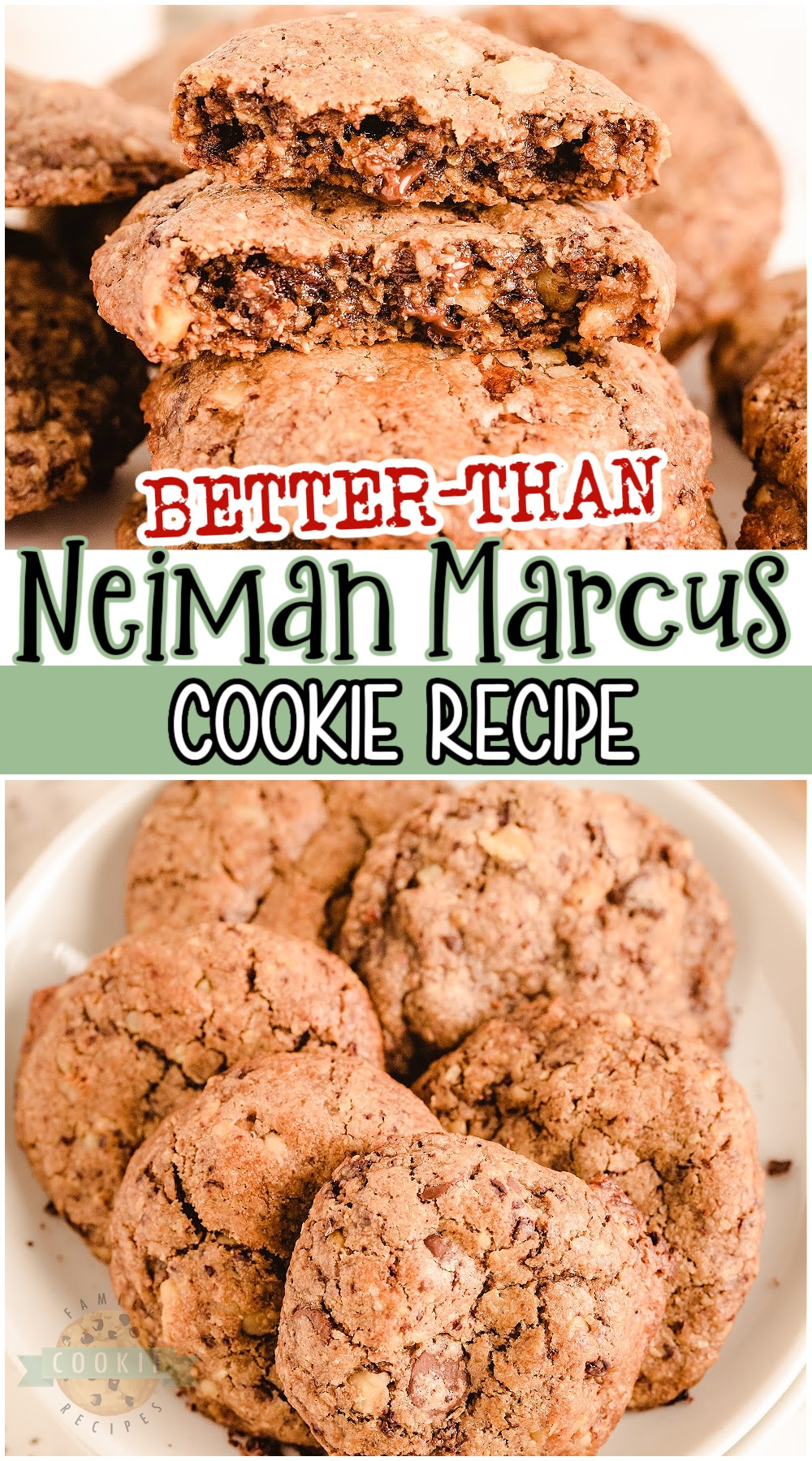 """""""Better Than"""" Neiman Marcus Cookies are fabulous oatmeal chocolate chip cookies made with grated chocolate! Thick & chewy oatmeal cookie recipe with great chocolate flavor that everyone loves! And bonus- the recipe is FREE! #cookies #chocolate #oatmeal #NeimanMarcus #easyrecipe from FAMILY COOKIE RECIPES via @familycookierecipes"""