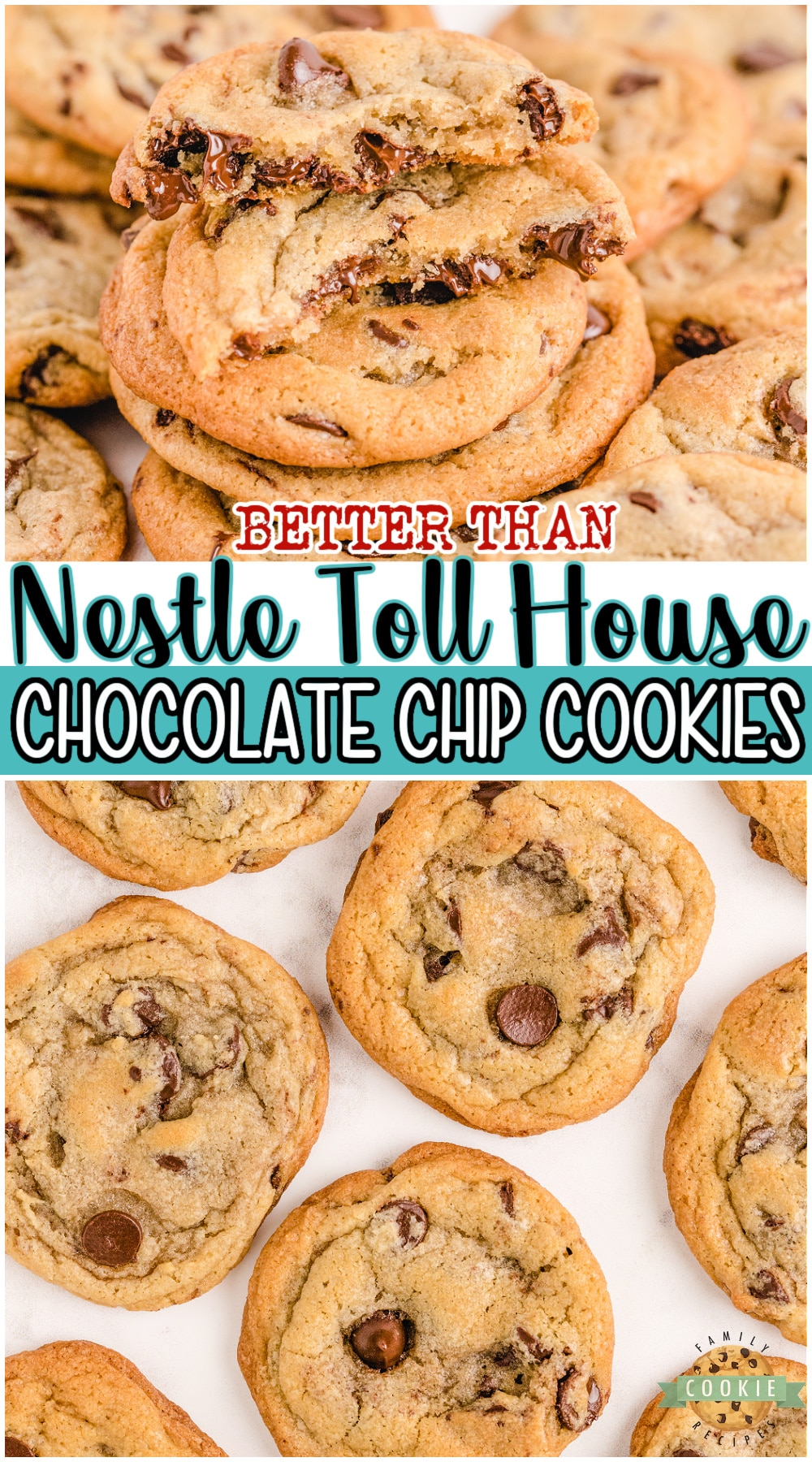 NESTLE TOLL HOUSE COOKIES recipe from the little yellow bag of chocolate chips with a few tweaks to make them even BETTER! Fantastic buttery chocolate chip cookie recipe with perfect flavor & texture. #cookies #chocolatechip #NestleTollHouse #baking #easyrecipe from FAMILY COOKIE RECIPES via @buttergirls