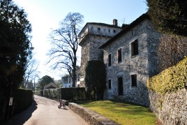 Beautiful historic buildings along walk to locarno