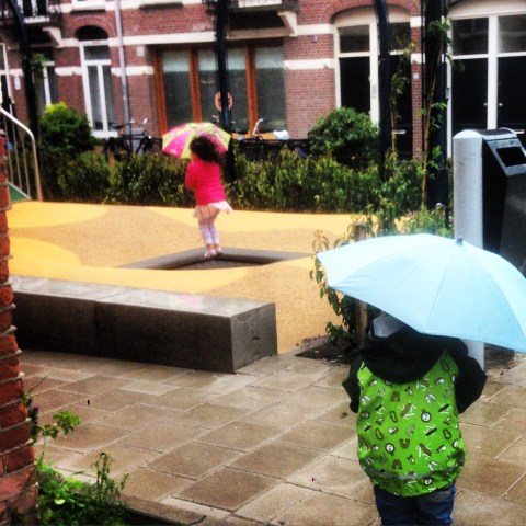 Dutch kids are not afraid of a little bit of rain!