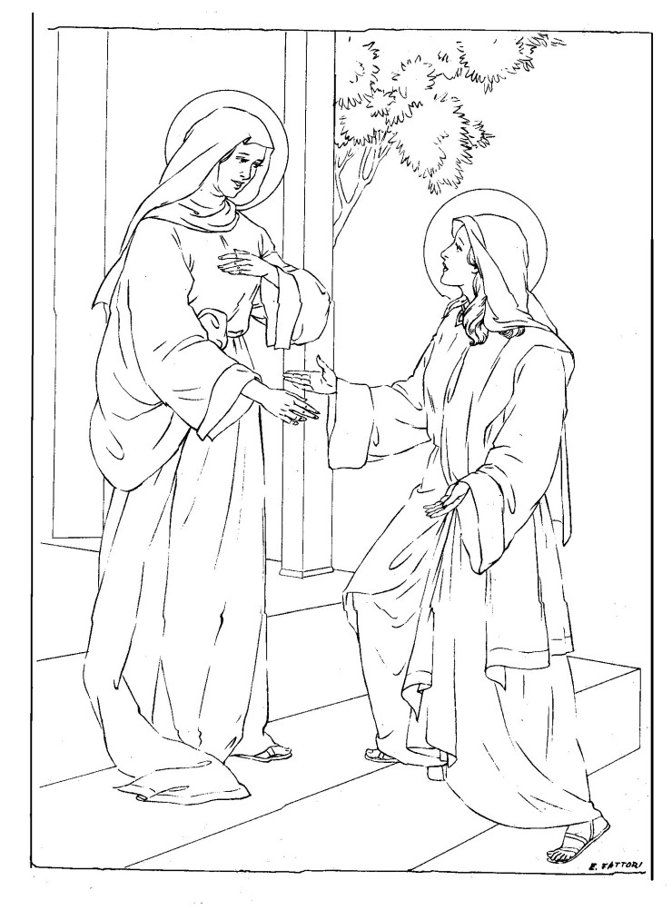 Visitation Coloring Page — Family in Feast and Feria