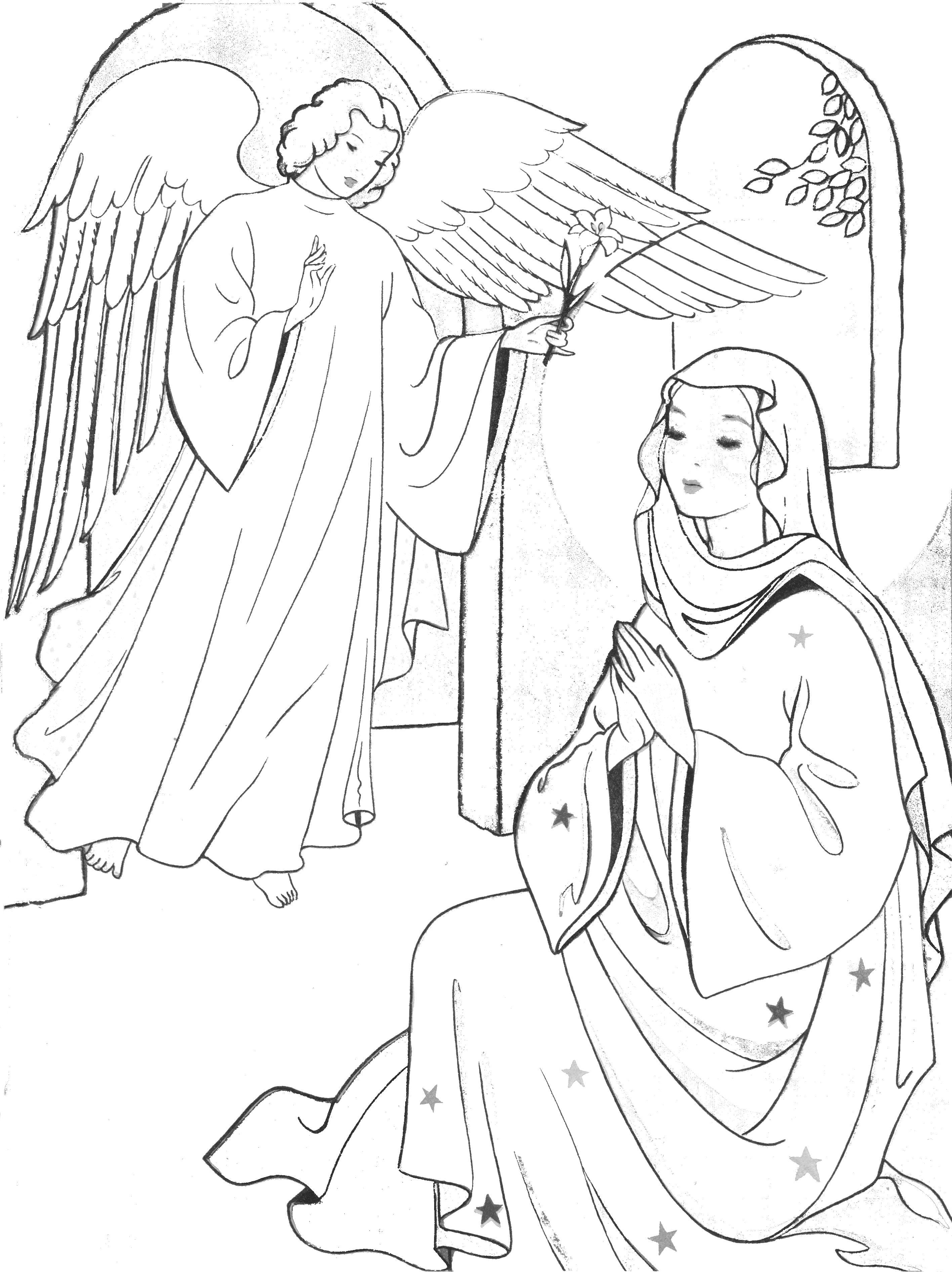 Presenting Jesus in the temple Anna and Simeon. Coloring page for ... | 3784x2833