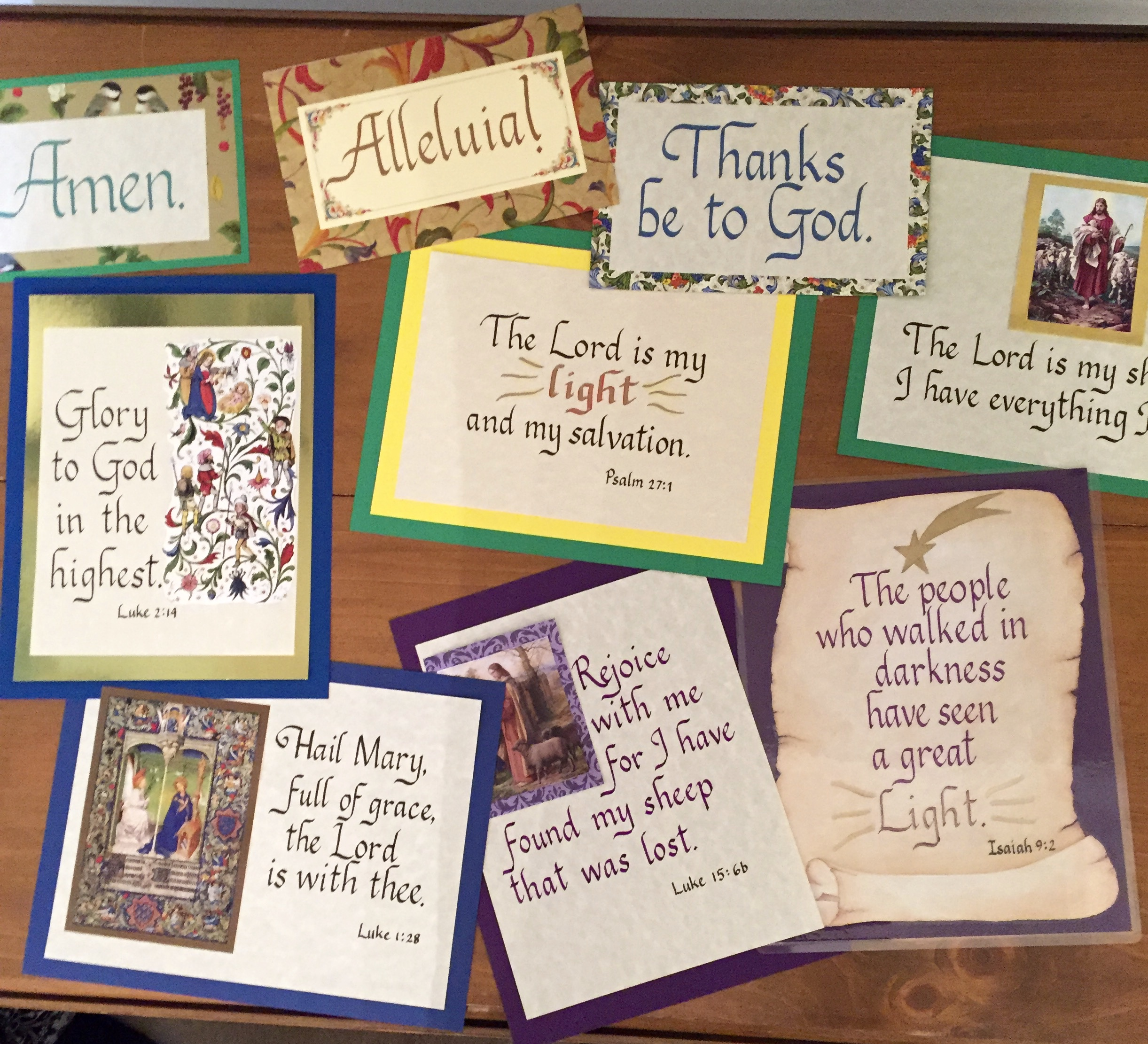 Calligraphy Prayer Cards Family In Feast And Feria