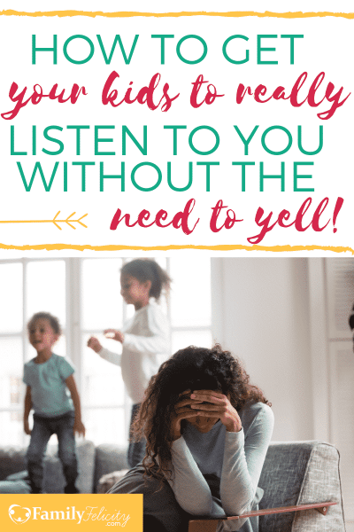 Tired of having to nag and yell to get your kids to listen to you? There's a better and much more enjoyable way to get your kids to listen the first time! Read to learn how to get your sanity back. #kidsandparenting #parenting #motherhood