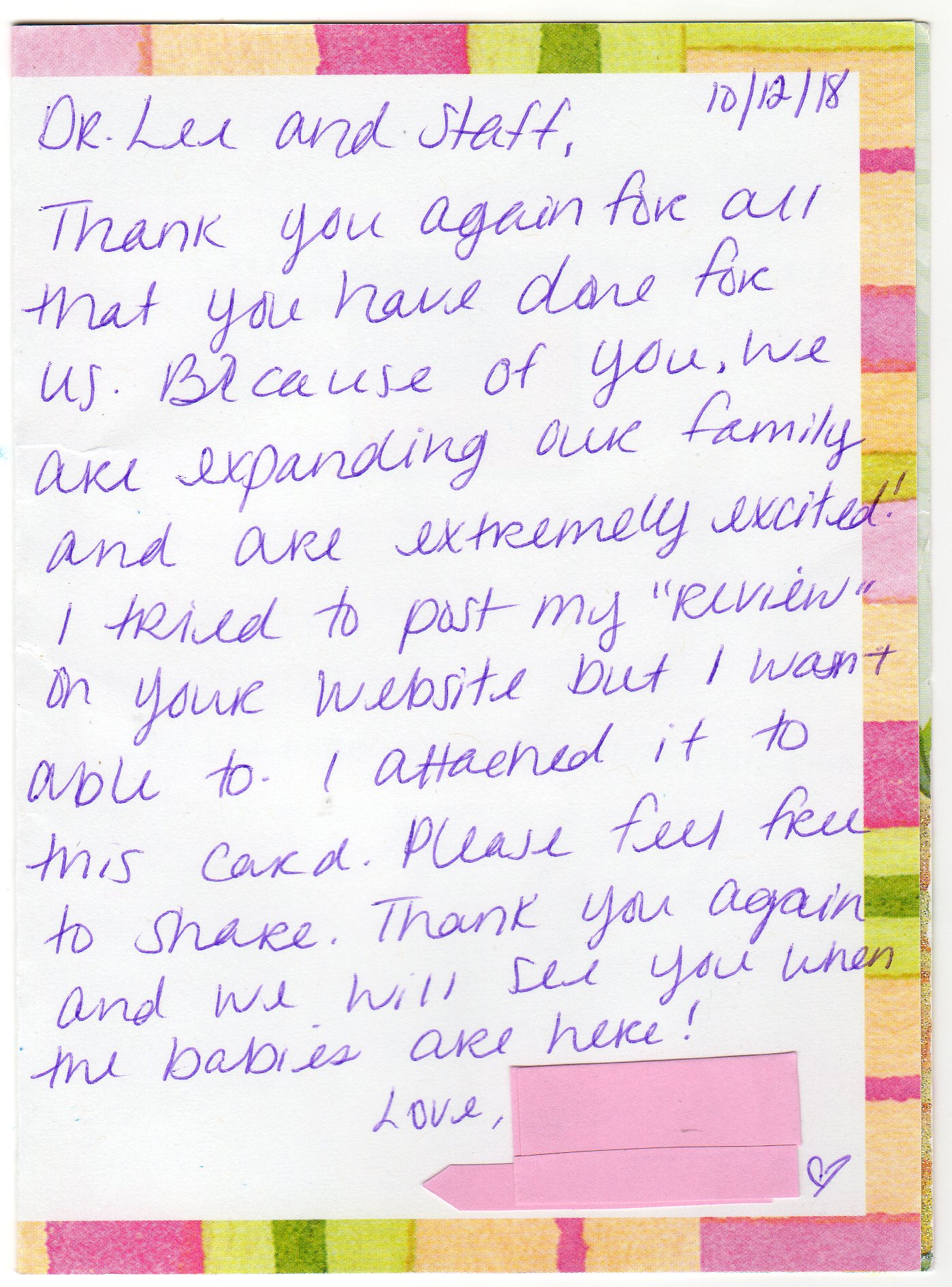 Thank You Note To Doctor : thank, doctor, Fertility, Doctors, Family, Lyons