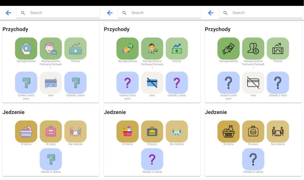 aplikacja do budżetowania - ikony