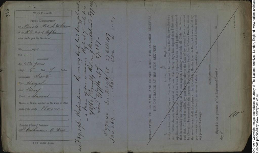 Image 4: Patrick McCann Discharge Royal Canadian Regiment of Rifles 1863