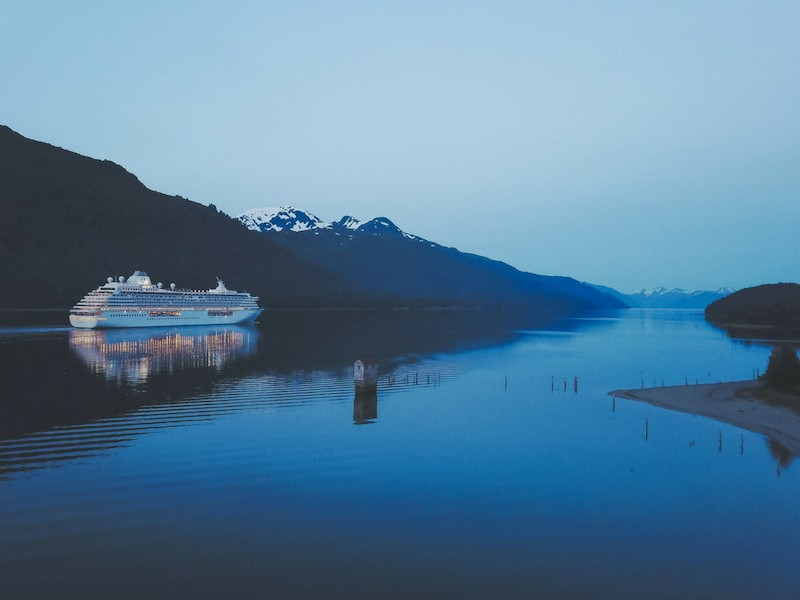 Cruise liner on river in dawn