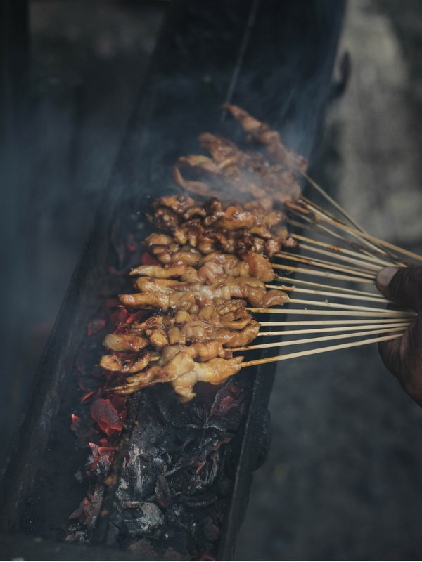 Satay on skewers street food
