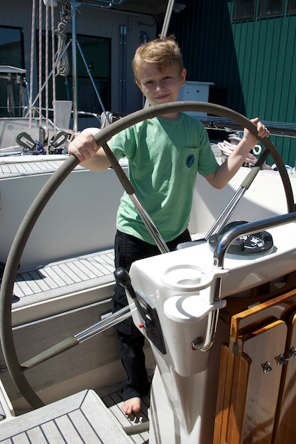 Noah checking the helmsman's position