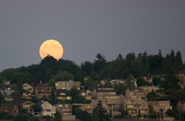 The Super Moon just coming up from behind the hill