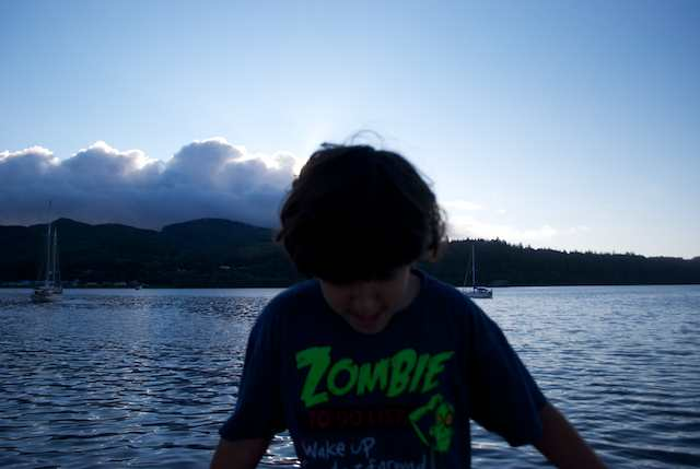 Paulo and his cool t-shirt, against the cold sunset background at Neah Bay