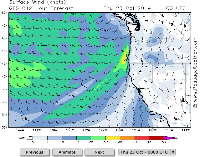 Moderate to strong Southerly winds hitting the coast north of Cape Mendocino