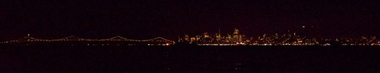 By the time we reached the exit of the Bay, night had settled and we had a last view of SF's skyline. It was a long stay - much longer than we originally thought. And we had a great time here. By-By San Francisco !