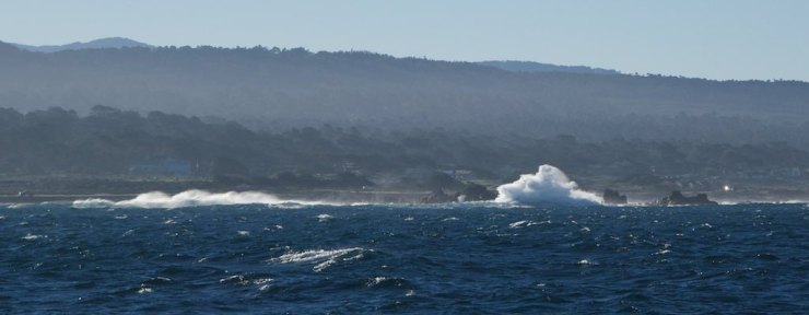 A few minutes into the passage. The swell, albeit reasonable at 7ft/14 secs, packed high energy and created a beautiful spectacle as it exploded against the rocks at Point PInos.