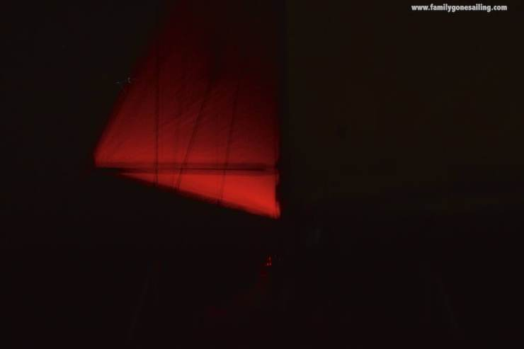 The genoa poled out to port. The mainsail was held in position to starboard. We sailed like that all night and made great progress.