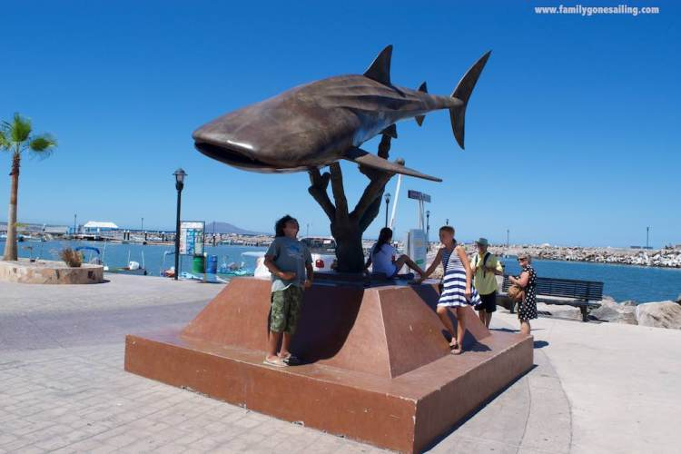 This actual-sized whale shark feature adorns the Malecon right in front of the City's commercial wharf