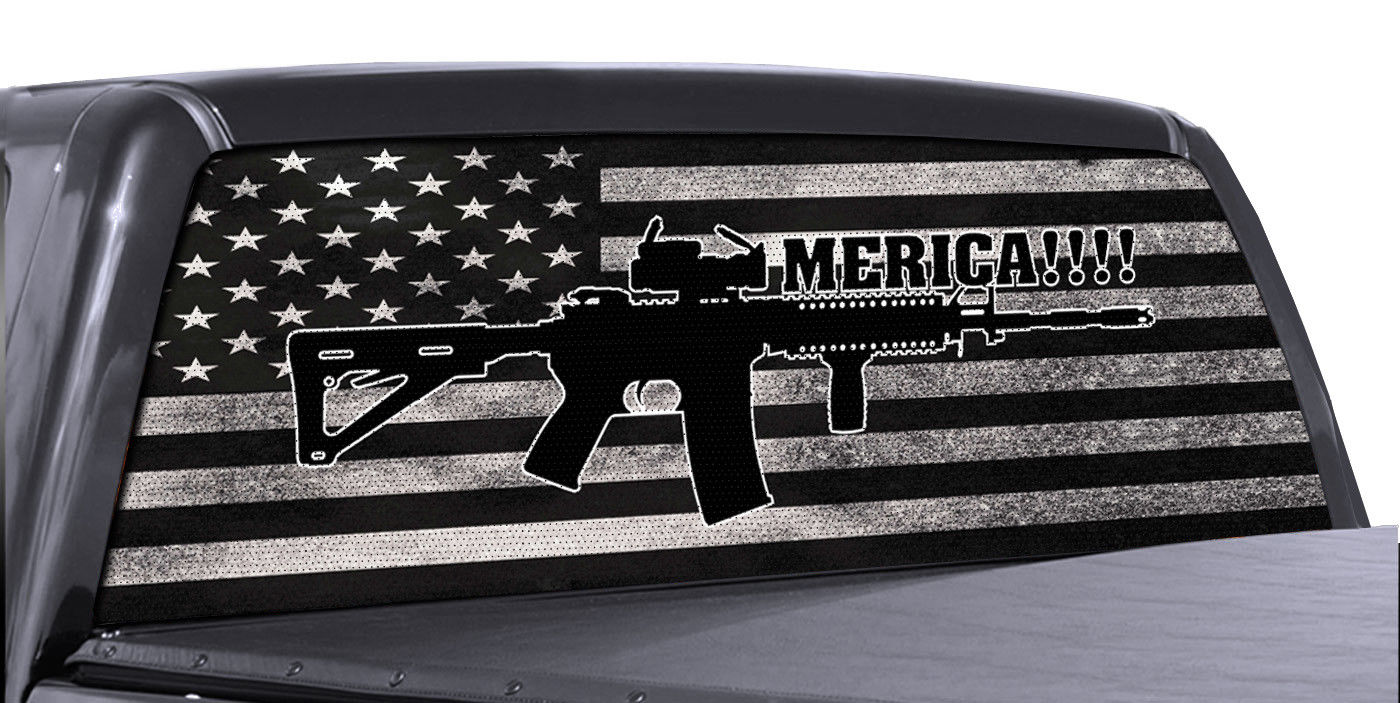 Fgd brand ar 15 american flag truck rear window wrap perforated vinyl decal