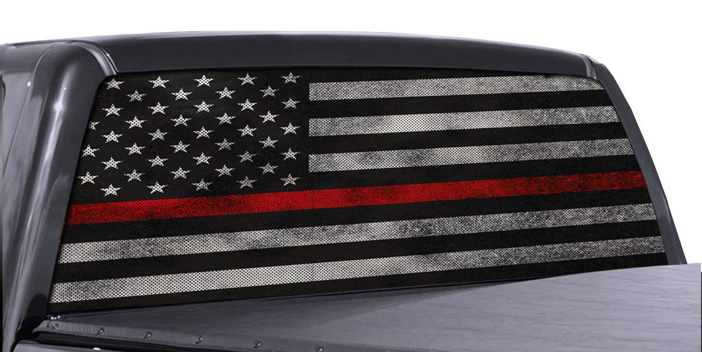 Red Line American Flag >> Fgd Brand Truck Rear Window Firefighter Thin Red Line American Flag Perforated Vinyl Decal Wrap Family Graphix Llc